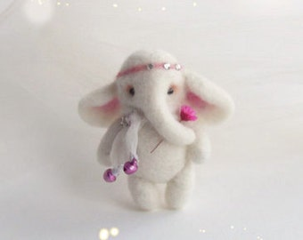 Ellie, Little White Elephant, Hand Felted Brooch, Animal Jewelry