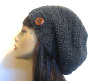 Crochet Slouch Hat Charcoal Cap Gray Slouchy Hat Gray knit Beanie Slouchy Beanie Charcoal Gray Cap Women Slouchy Tam Gray Beanie Crochet Hat