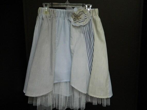 Girl's Blue Upcycled Skirt - Spring Girl's Clothing - OOAK Skirt - Handmade Clothing - Lynne's Designs - lynnedowns - Recycled Girl's Skirt