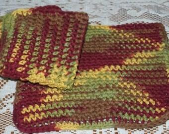 Set of 3 Autumn Leaves Ombre Crochet Dishcloths   All Cotton