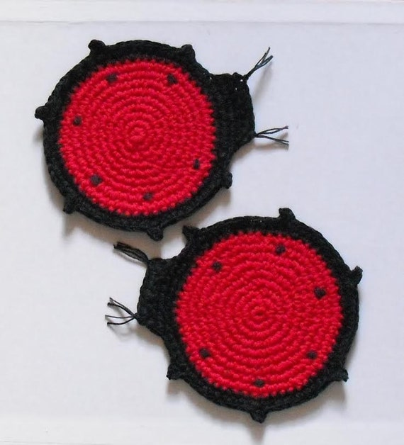 set of 2 coasters. cotton eco-friendly ladybug. lady bird. earth friendly gift hand crocheted original design