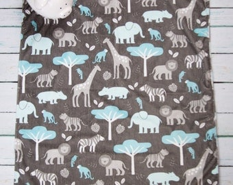 Blue Jungle Minky Baby Blanket