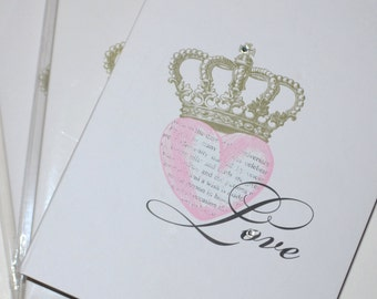 Love Heart Crown Hardcover Blank Journals Set of Three 5 x 7 Blank Journals