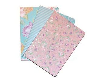 Glitter Spring Pastel Set of 3 Blank Journals Florals and Stripes Sparkling Gifts Craft Supplies