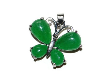 Emerald Green Butterfly Pendant Sterling Silver Plated Craft Supplies Jewelry Supplies