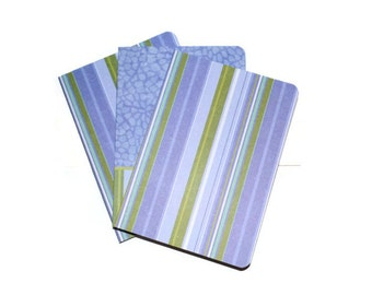Blue Strip Water Pattern Blank Journals Set of Three 5 x 7 Craft Supplies Blues Green
