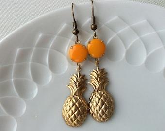 Pineapple earrings,gold,orange,Piña Colada