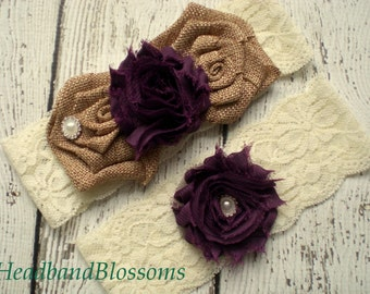 EGGPLANT Ivory Bridal Garter Set - Keepsake & Toss Garters - Burlap Chiffon Flower Lace Garters - Rustic Country Wedding - Dark Purple