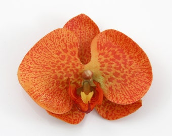 Summer Orange Red Orchid Flower Hair Clip and Pin - Realistic Orchid Flower - Bright Red Orange Coral-  Feels Real
