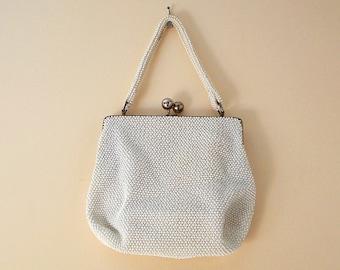 Vintage Beaded Evening Purse With Clasp, Beaded Handbag, Beaded Evening Bag White Cream