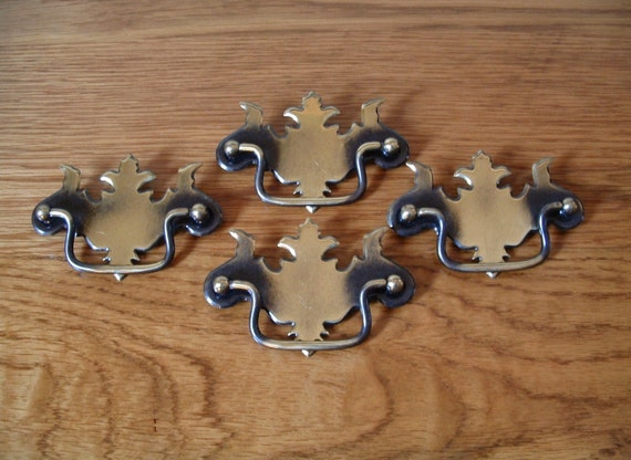 vintage antique brass finish drawer pulls lot of 4 chippendale