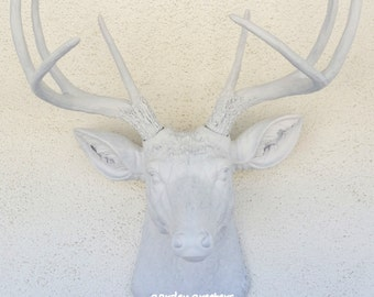 Faux White Deer Head 8 Point Buck Wall Mount Decor