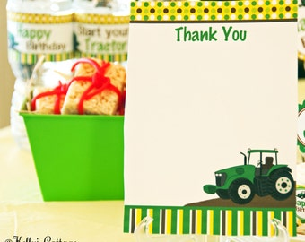 Tractor Birthday Party Thank You Notes (5 x 7), Instant Download, Printable, Digital