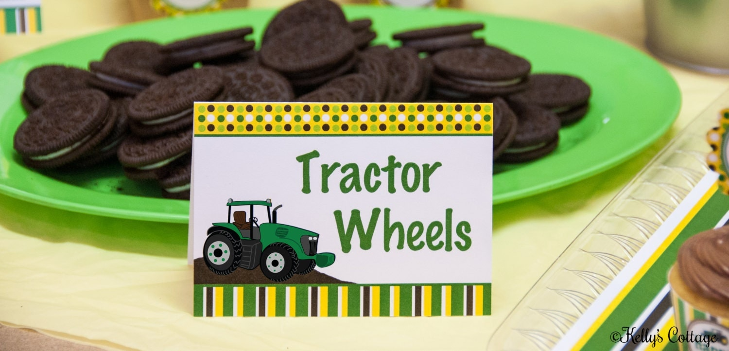 Tractor Birthday Party Labels Instant Download Printable