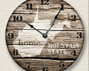 West Virginia Home State Wall CLOCK  - Barn Boards printed image  - Mountain State - rustic cabin country wall home decor