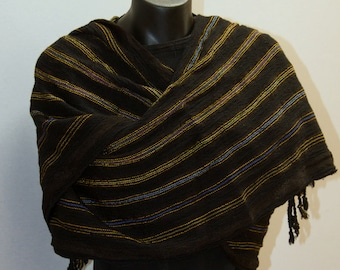 Hand Woven Black Striped Wrap or Shawl