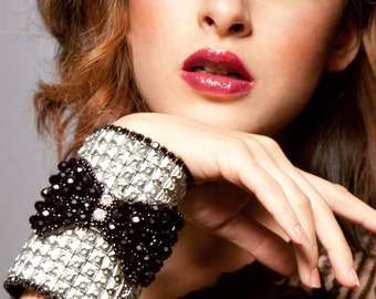 Bow Tie Wallet,Rhinestone Cuff, Party Attire, Fashion Accessory, Silver & Black Cuff Bracelet, Gift for her, Secret Pouch - Luxe Tuxedo