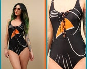 70s Vtg Black GEOMETRiC Lace Up CORSET Maillot Swimsuit One Piece / AQUA + Orange Low Back / Mod Pin Up Summer Beach / Small - Medium