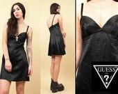 80s 90s Vtg GUESS Black SATIN Babydoll Mini Dress / Low Cut Back CROCODILE Retile Print / Minimal Sweetheart Bust / Xs - Sm