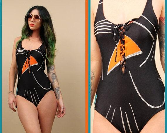 70s vtg black geometric lace up corset maillot swimsuit one piece