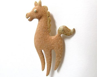 Vintage Horse Brooch . Signed Jewelry . Mamselle