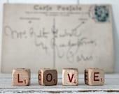 vintage letter cube word LOVE