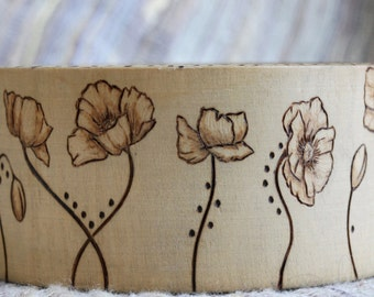 Poppy Flower Pyrography Wood Burned Bangle Bracelet Spring
