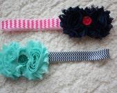 Teal, Navy and Pink Chevron Headband Bundle