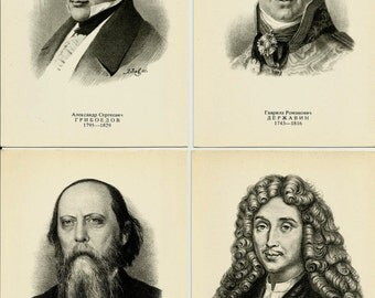 Portraits of Writers and Poets, Vintage Russian Postcards set of 20, print 1977