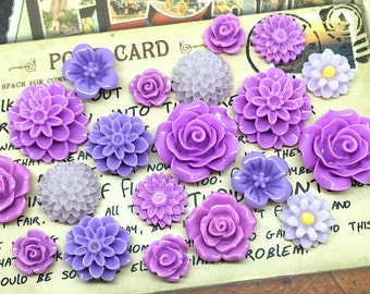 20x Resin Flower Cabochons - Purple