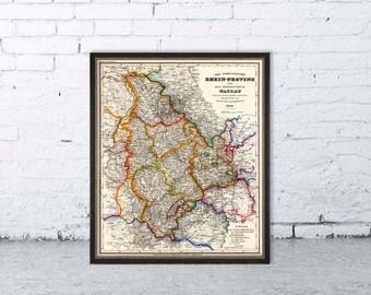 Rhein-Provinz, Nassau map - Vintage map fine print