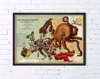 Funny map of Europe -  Vintage Europe comic map - Fine reproduction - 16 x 23 ""