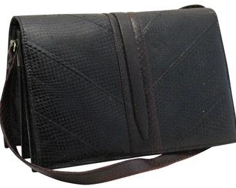 Vintage, Black Leather Handbag, Purse, Cross Body Bag, Formal, Shoulder Bag