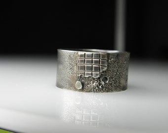 FREE SHIPPING, unisex sterling silver ring, handmade, texture jewelry, contemporary