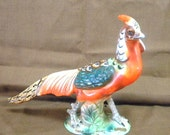 Wales pheasant ceramic figurine made in Japan with label vintage