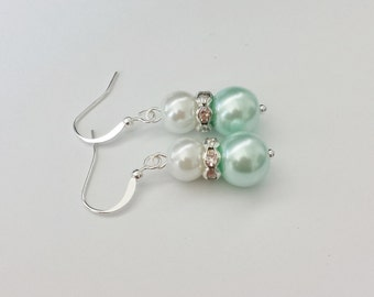 White and Mint Green Pearl Rhinestone Earrings