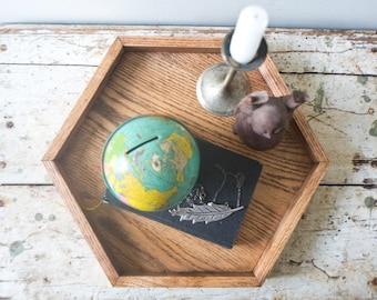 Oak Hexagon Tray - Honey Red Oak Wooden Jewelry Wood Tray Rustic Modern Decor Makeup Handmade Geometric Shape