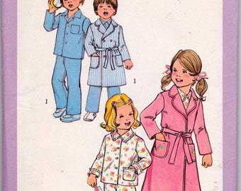 Simplicity 7068 Child's Robe in Two Lengths and Pajamas Pattern, UNCUT, Size 2, Vintage, Boys or Girls Robe and Pajamas, Retro, 1977