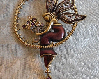 Vintage Purple Enamel Fairy Brooch