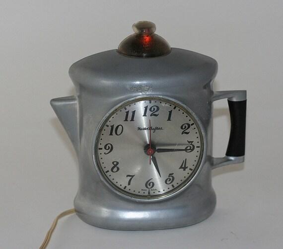 1960s Mastercrafters Perky Percolator Coffee Pot Wall Clock