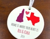 Home is Where Your Heart Is Ornament - Home States - Personalized Porcelain Ceramic Christmas Gift - orn476 - Peachwik - State Ornament