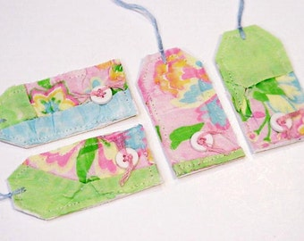 Patchwork Fabric Gift Tags, Prim Pastel Feedsack Quilt Wedding Everyday All Occasion Hang Tags, Place Cards, Party Favor Tags itsyourcountry