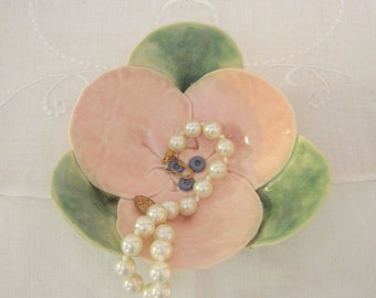 Hand Built Porcelain Pottery Flower Bowl Ring Dish, Home Decor, Wedding Favor, Jewelry Tray, Pink, Moss Green, Gallery Pottery