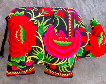 Hmong Elephant Cushion /Tribal/Ethnic/Embroidered/Batik/ one of a kind