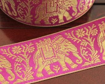 1 Yard Decorative Fabric Trim-Lilac Purple Wide Woven Ribbon Trim-Elephant Design Jacquard Ribbon-Designer Silk Sari Border By The Yard