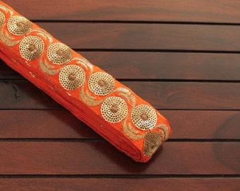 1 Yard Orange Silk Fabric Trim-Golden Thread Embroidered Trim-Orange Silk Sari Border Trim-Crazy Quilt Trims-Orange Silk Ribbon By The Yard
