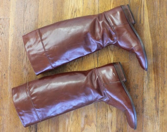 7 1/2 / Leather  Boots / Vintage Women's Riding Boots /Brown Leather Footwear