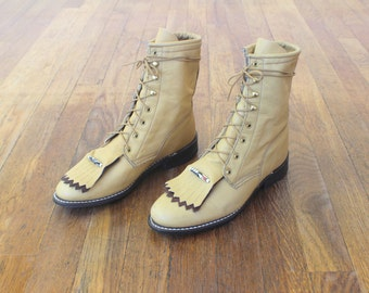 7 1/2 M / Western Lace up BOOTS / Vintage Tawny Leather Boots / Women's Shoes