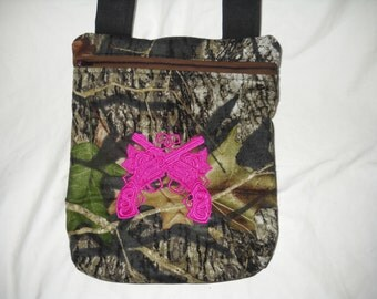 """Mossy Oak Camouflage with Crossed Pink Pistols, Roses, Nightwingcreations Original Small Sized Crossbody Bag, the """"Rhianna""""  Bag"""