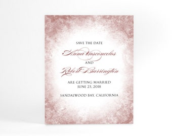Wedding Save the Date cards, personalized cards diy invitations, wedding ideas printable save the date postcards, marsala wine, other colors